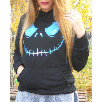 Stylish Black Hooded Skull Printed Pullover Hoodie For Women