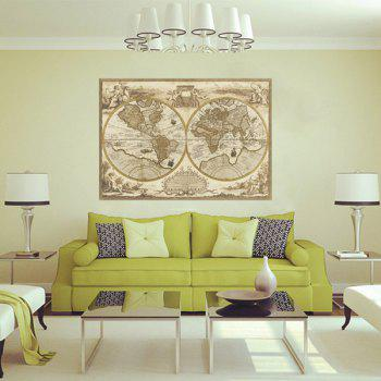 Stylish Removable World Map Pattern Bedroom Decoration Wall Stickers - LIGHT KHAKI