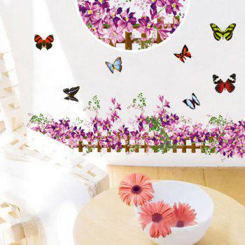 Stylish Removable Floral Fence Butterflies Pattern Skirting Line Wall Stickers
