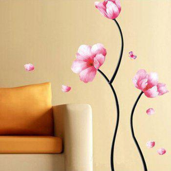 Stylish Removable Floral Pattern Bedroom Background Decoration Wall Stickers - PINK