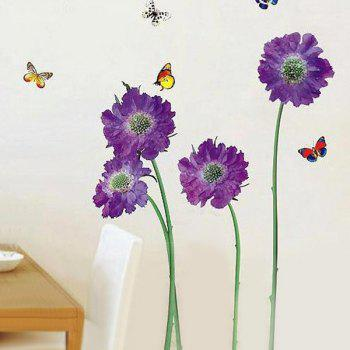 Stylish Removable Floral Butterflies Pattern Bedroom Background Decoration Wall Stickers - PURPLE