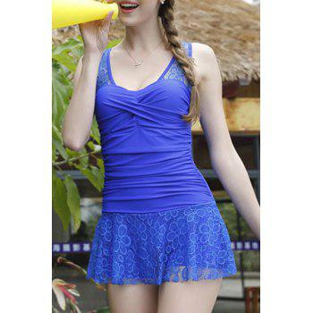 Trendy Hollow Out Bowknot Embellished Lace Spliced Women's Swimwear