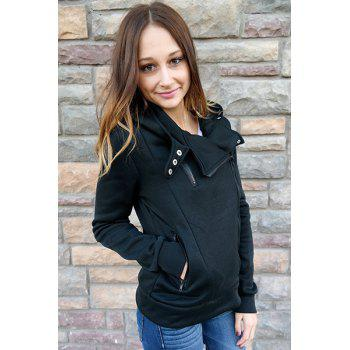 Stylish Hooded Long Sleeve Slimming Zippered Women's Hoodie - BLACK L