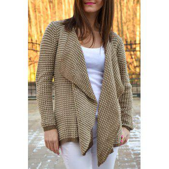 Casual Collarless Knitted Long Sleeve Cardigan For Women - KHAKI S