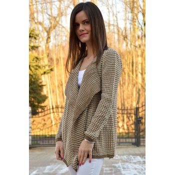 Casual Collarless Knitted Long Sleeve Cardigan For Women - M M