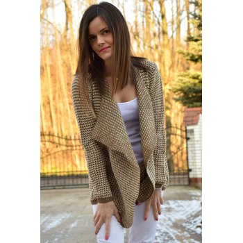 Casual Collarless Knitted Long Sleeve Cardigan For Women - XL XL
