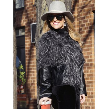 PU Leather Faux Fur Jacket - BLACK XL