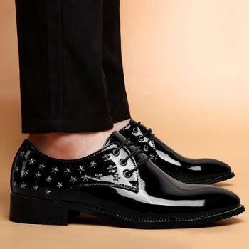 Fashion Rivets and Patent Leather Design Formal Shoes For Men - BLACK 44