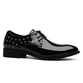 Fashion Rivets and Patent Leather Design Formal Shoes For Men - BLACK 40