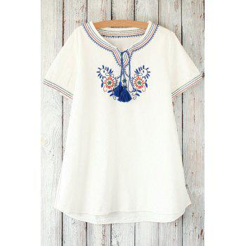 Stylish Round Neck Short Sleeve Retro Floral Embroidery Women's T-Shirt