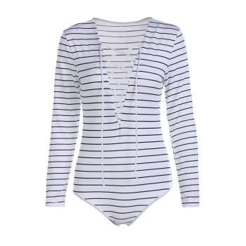 Fashion Plunging Neck Long Sleeve Striped Lace Up Bodysuit