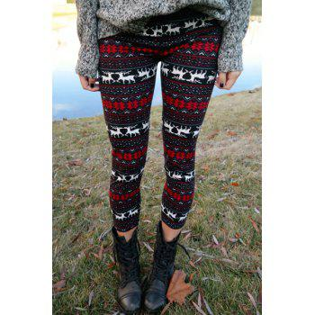 Deer Snowflake Print Christmas Tight Leggings