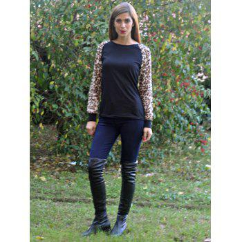 Chic Leopard Splicing Round Neck Long Sleeve T-Shirt For Women - BLACK 2XL