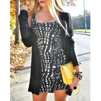 Stylish Long Sleeve Faux Leather Asymmetrical Spliced Women's Cardigan - BLACK BLACK