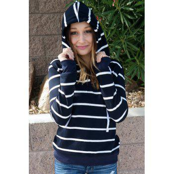 Stylish Hooded Long Sleeve Striped Drawstring Women's Hoodie - CADETBLUE L