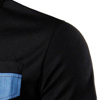 Denim Spliced Color Block Turn-down Collar Short Sleeves Men's Polo T-Shirt - BLACK M