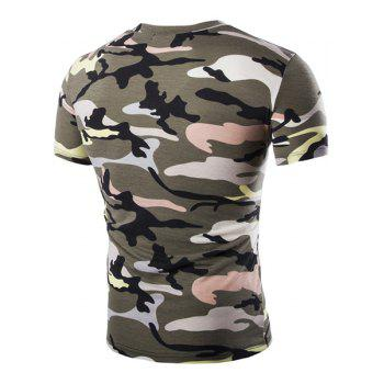 Camouflage Loose Fit Short Sleeves V-Neck Men's T-Shirt - ARMY GREEN M