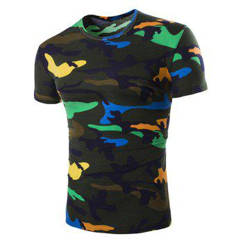 Vogue Round Neck Camo Print Short Sleeves Men's Loose Fit T-Shirt - BLACKISH GREEN BLACKISH GREEN