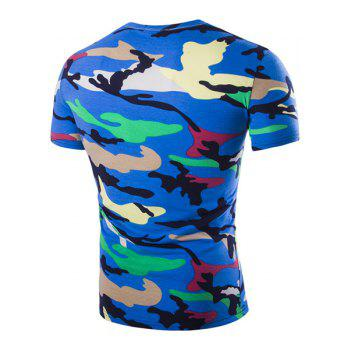 Vogue Round Neck Camo Print Short Sleeves Men's Loose Fit T-Shirt - BLUE L