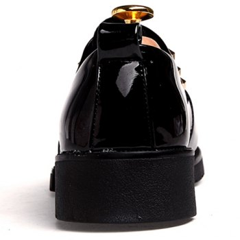 Trendy Lace-Up and Patent Leather Design Formal Shoes For Men - BLACK 41
