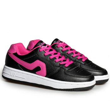 Fashion Lace-Up and Color Matching Design Sneakers For Women - RED/BLACK 39