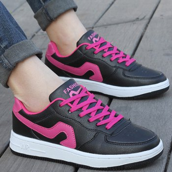 Fashion Lace-Up and Color Matching Design Sneakers For Women - RED/BLACK 40