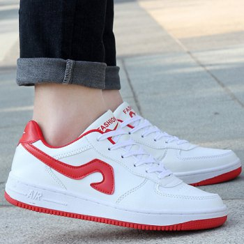 Fashion Lace-Up and Color Matching Design Sneakers For Women - RED/WHITE 40