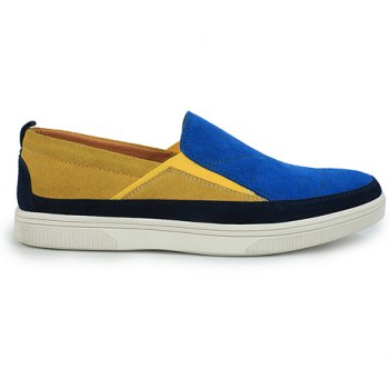 Fashionable Color Block and Suede Design Casual Shoes For Men - BLUE 42