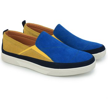 Fashionable Color Block and Suede Design Casual Shoes For Men - BLUE 39