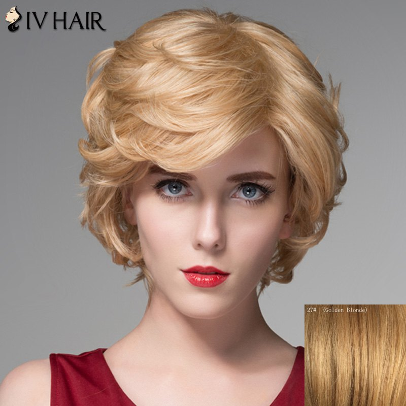 Human Hair Elegant Side Bang Capless Fluffy Wavy Short Wig - GOLDEN BLONDE