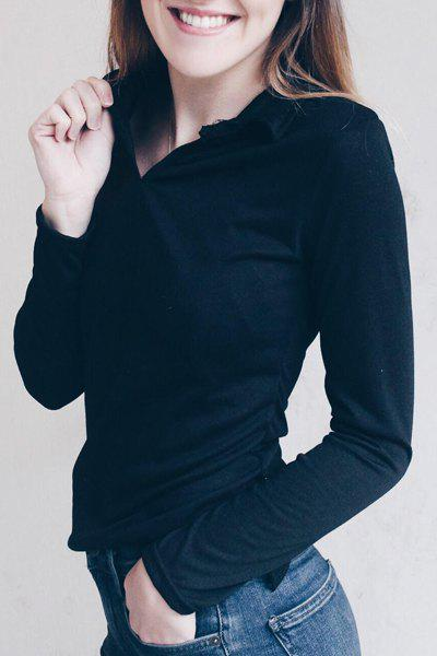 Casual Women's Polo Collar Long Sleeves Solid Color T-Shirt - BLACK M