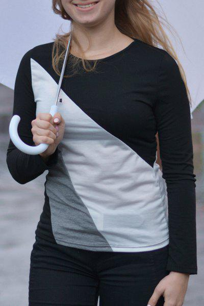 Casual Round Collar Long Sleeve Color Block Spliced Women's T-shirt - BLACK M