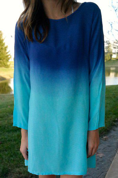 Stylish Long Sleeve Scoop Collar Ombre Color Women's Dress - BLUE S