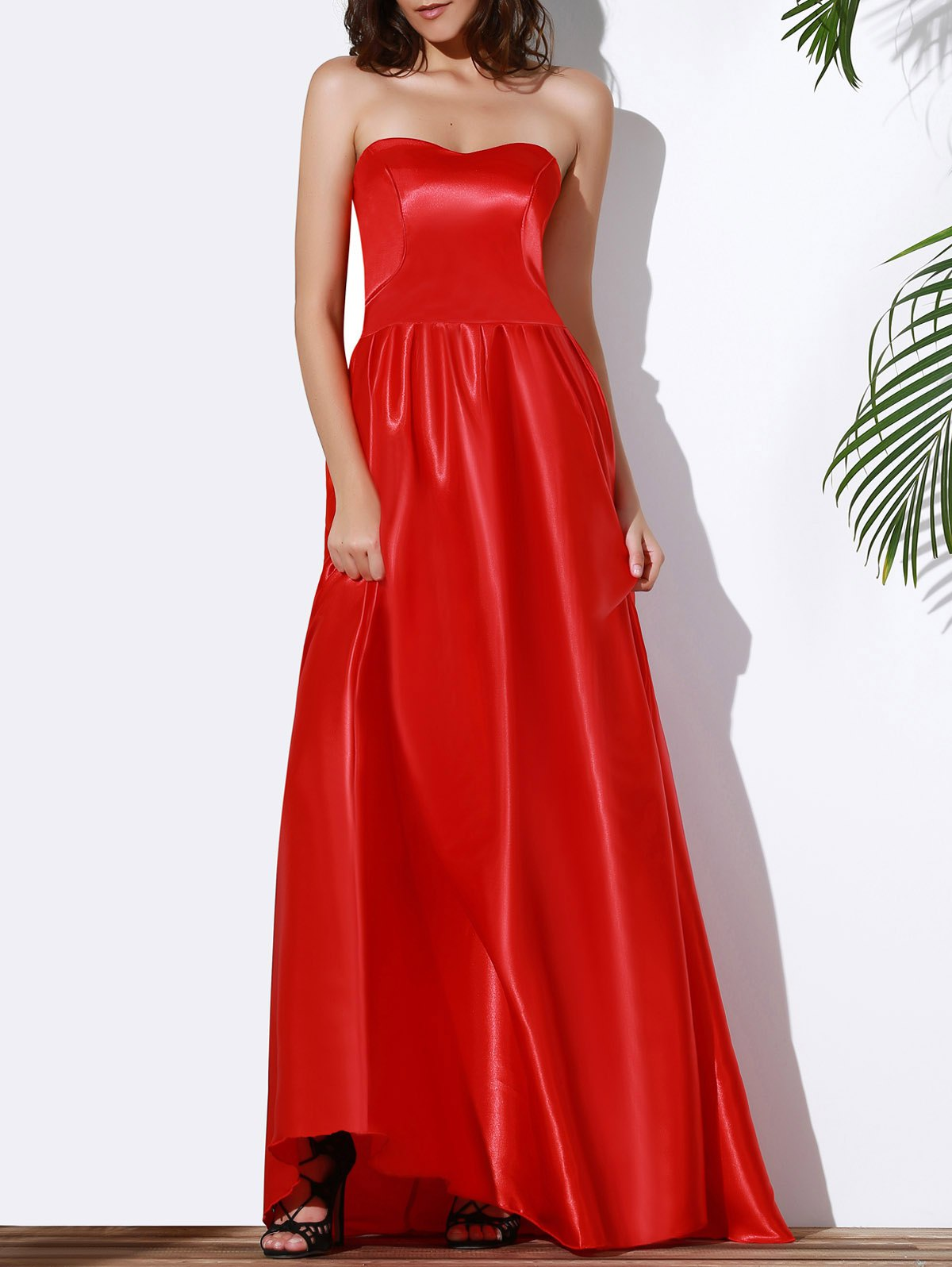 Sexy Women's Strapless Red Maxi Dress - RED L