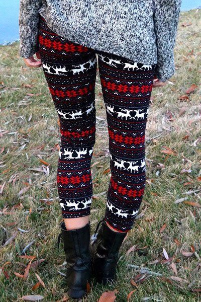 Deer Snowflake Print Christmas Tight Leggings - COLORMIX ONE SIZE