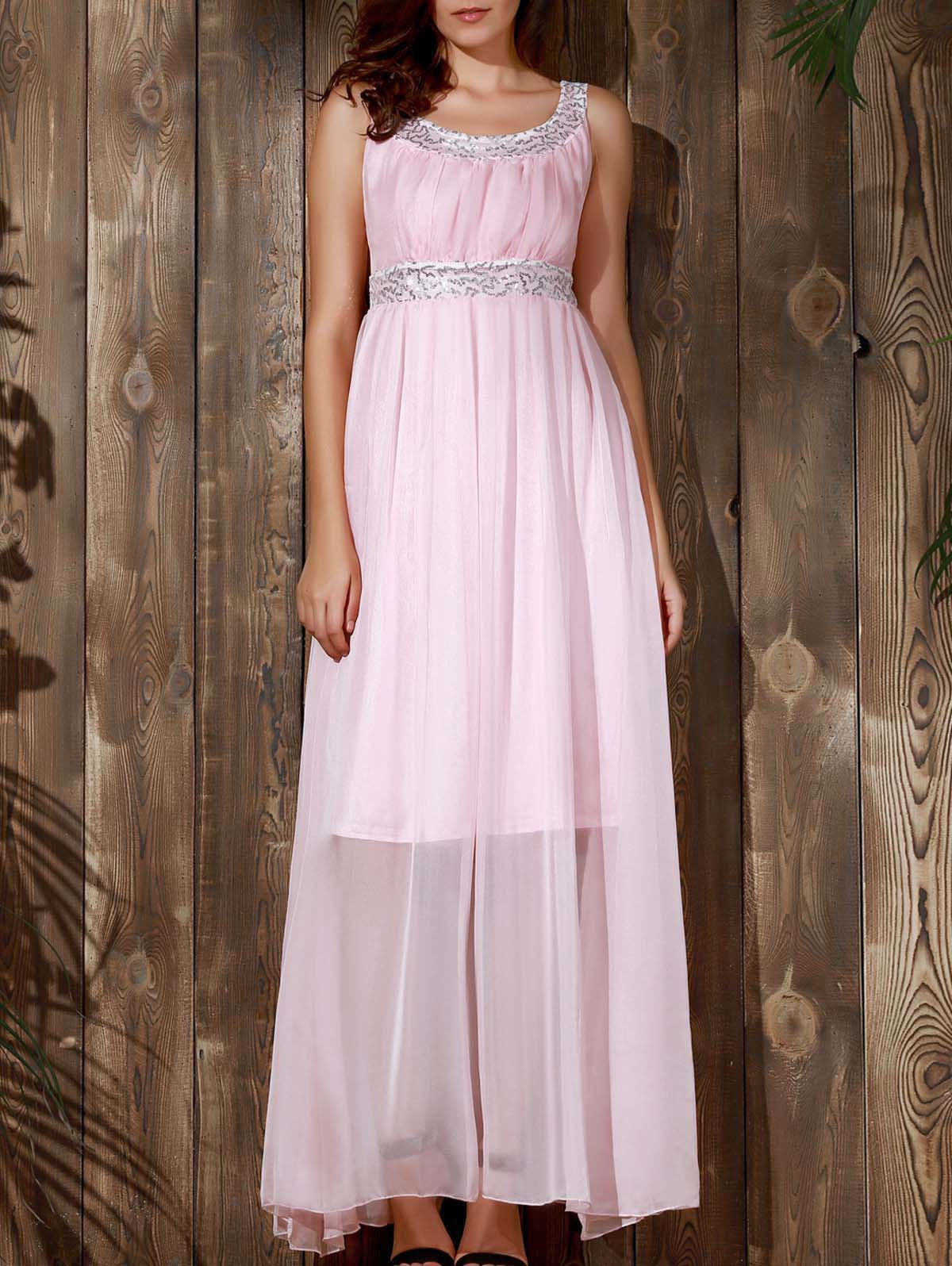 Stylish U-Neck Sleeveless Spliced Sequined Women's Dress - PINK S
