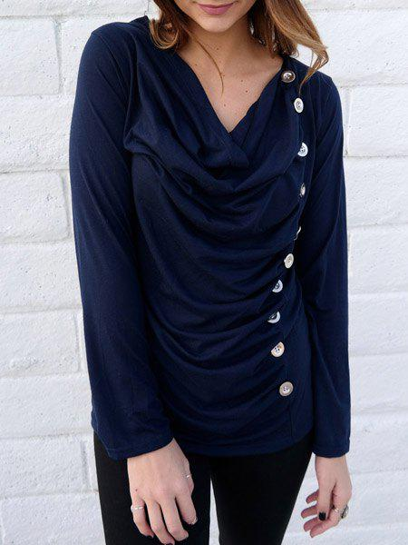 Cowl Neck Long Sleeve With Button Blouse For Women - DEEP BLUE M