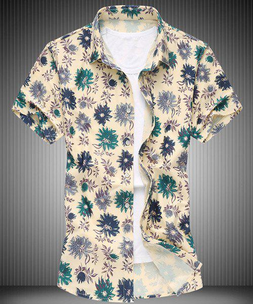 Casual Turn-down Collar Color Block Floral Print Men's Short Sleeves Shirt - GREEN L
