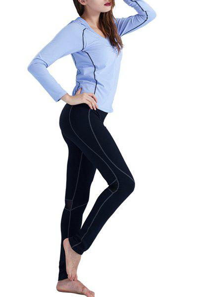 Active Women's Hooded Ruffled Long Sleeve Gym Outfits - BLUE/BLACK 2XL