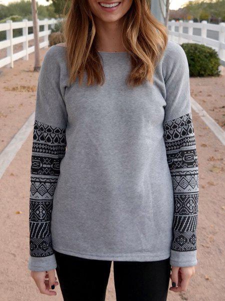 Attarctive Geometric Print Spliced Thick Sweatshirt For Women - GRAY XL