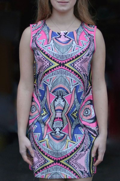 Vintage Geometric Print Bodycon Mini Dress For Women - COLORMIX S