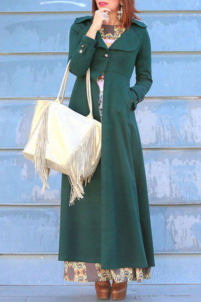 Graceful Solid Color Turn-Down Collar Tunic Maxi Coat For Women - BLACKISH GREEN L