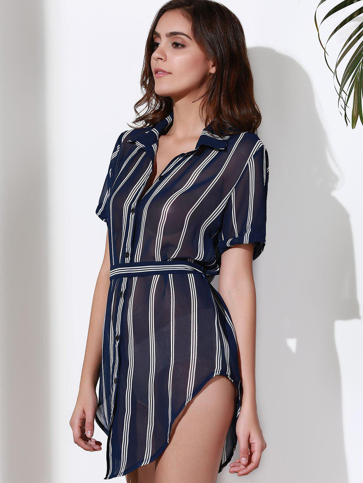 Stylish Turn-Down Collar Short Sleeve Striped Women's Shirt Dress - PURPLISH BLUE L