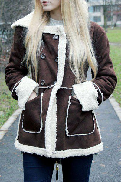 Faux Shearling Double Breasted Coat - COFFEE S