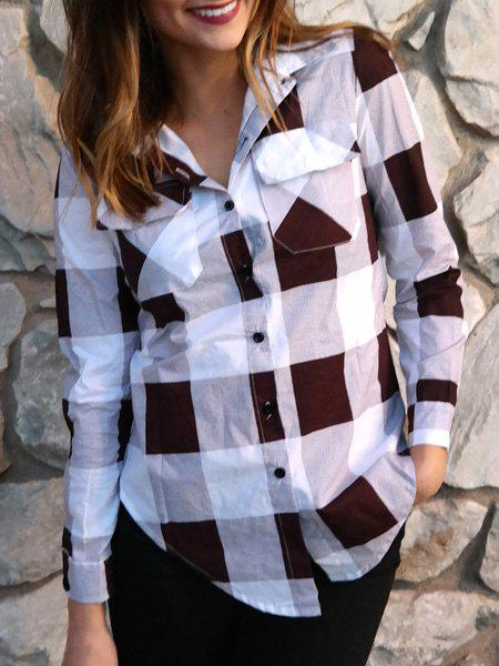 Stylish Long Sleeve Shirt Collar Side Slit Plaid Women's Shirt - DEEP RED S