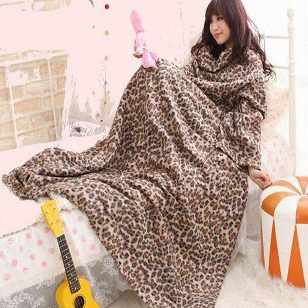 Useful Double-Sided Velvet Multi-Function Warm TV Blanket That Has Sleeves Snuggie Blanket - LEOPARD