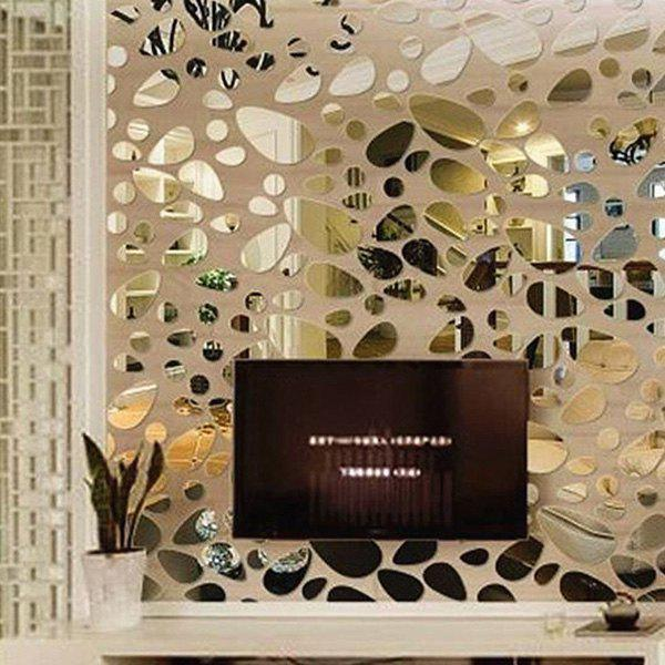 Stylish DIY Combination Type Pebble Shape Mirror Wall Stickers -  SILVER