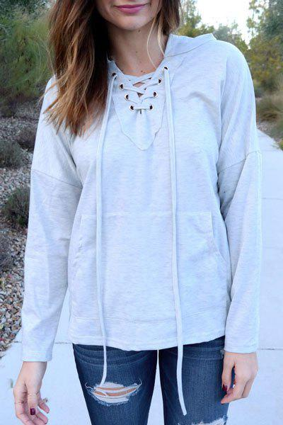 Stylish Long Sleeve Hooded Solid Color Lace-Up Women's Pullover Hoodie - LIGHT GRAY XL