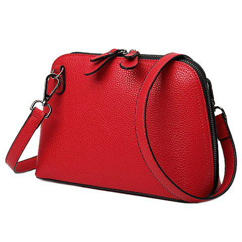 Concise Embossing and PU Leather Design Women's Crossbody Bag