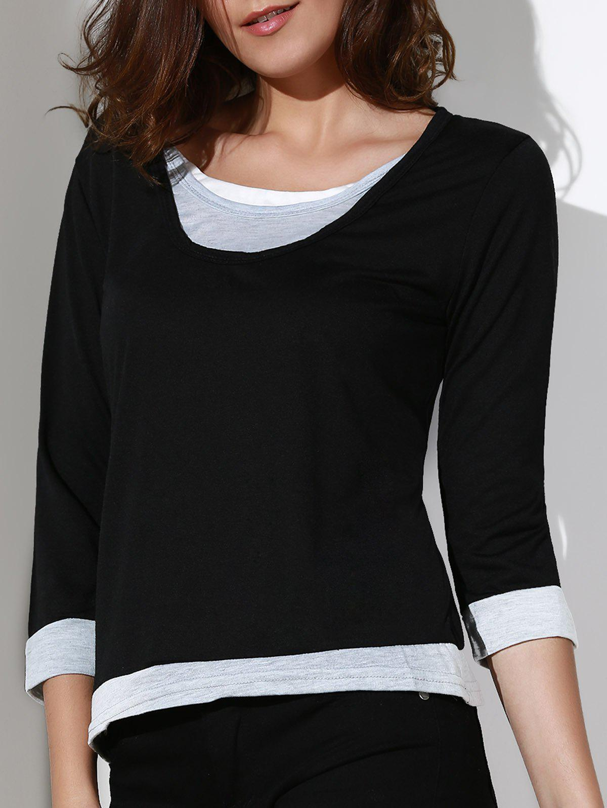 Casual Women's Scoop Neck Color Spliced 3/4 Sleeve T-Shirt - BLACK M